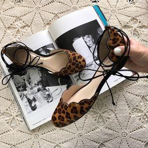 Guilhermina Leopard Ankle wrap Flats